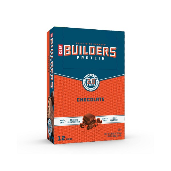 CLIF Builders Protein Bars - Chocolate - 20g Protein - 12ct