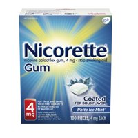 Nicorette Nicotine Coated Gum to Stop Smoking, 4mg, White Ice Mint Flavor - 100 Count