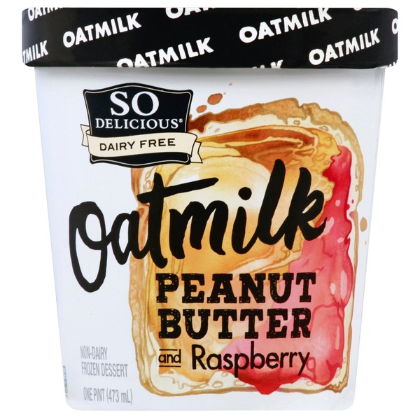 So Delicious Peanut Butter And Raspberry Oatmilk Non-dairy Frozen Dessert