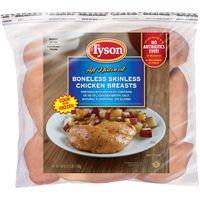 Tyson   Frozen Uncooked Tyson® Boneless Skinless Chicken Breasts, 2.5 lb. (Frozen)