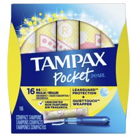 TAMPAX Pocket Pearl, Regular, Plastic Tampons, Unscented, 16 Count