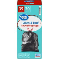Great Value™ 39 Gallon Lawn & Leaf Drawstring Bags 20 ct Box