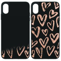 onn. iPhone XS Max Glitter Heart Case, Black