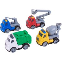 Kid Connection 4-Piece Friction Powered Utility Trucks Play Set
