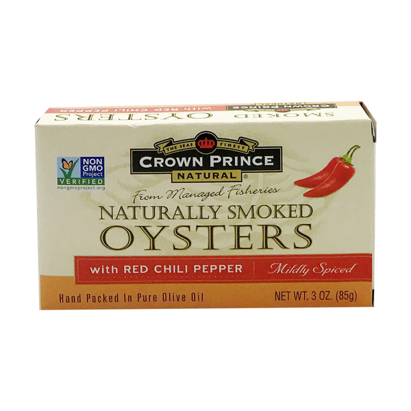 Crown prince natural Natural Smoked Oysters with Chili Pepper, 3 oz