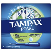 TAMPAX Pearl, Super, Plastic Tampons, Unscented, 36 Count