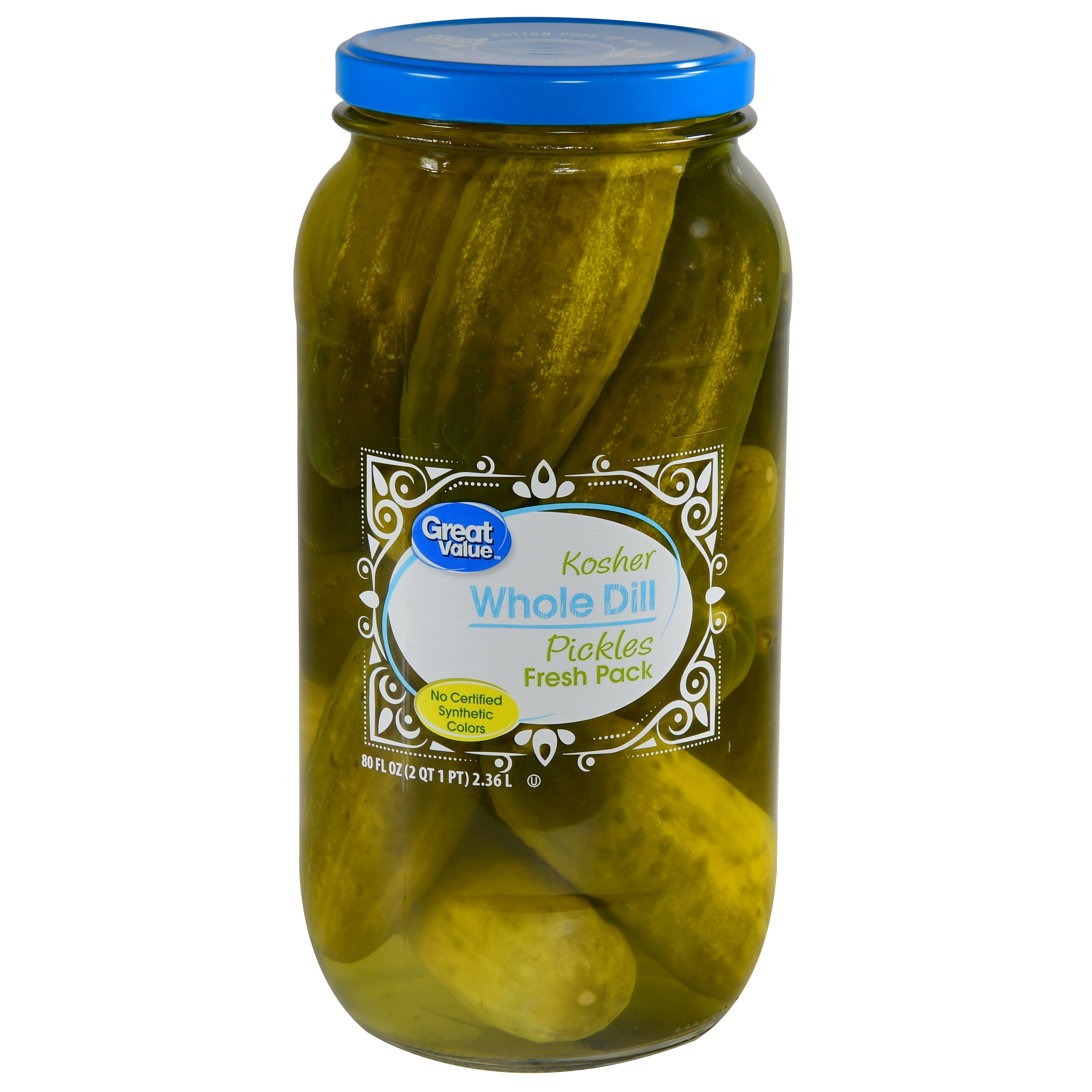 Great Value Kosher Whole Dill Pickles, 80 fl oz