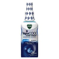 Vicks VapoCool Sore Throat Spray, Relieves Painful Sore Throat, Fast-Acting, Soothing, Powerful Numbing and Cooling, Winterfrost, 6oz