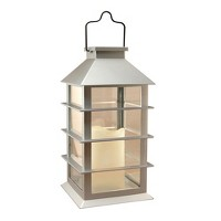Solar Powered Lantern with LED Candle Silver - LumaBase