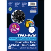 """Pacon Tru-Ray 9""""x12"""" Black Construction Paper, 30 Count"""