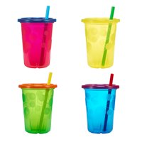 The First Years Take & Toss Spill-Proof Straw Cups With Snap on Lids, 18+ Months, 4 Pk