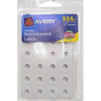 Avery White Round Reinforcements 6755, 1/4
