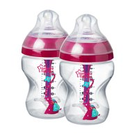 Tommee Tippee Advanced Anti-Colic Decorated Baby Bottles, Girl - 9 ounce, Pink, 2 Count