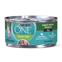 Purina ONE Natural, High Protein, Grain Free Pate Wet Cat Food, Turkey Recipe