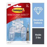 Command Hooks, Clear, Medium, 3 Hooks, 6 Strips Per Pack