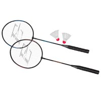 EastPoint Sports 2 Player Badminton Racket Set; Contains 2 Rackets with Tempered Steel Shafts and Soft, Comfortable Handles and 2 Durable, White Shuttlecocks for Entertainment with Friends and Family