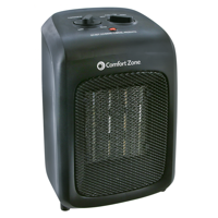 Comfort Zone Ceramic Heater with Fan Only Option, Black, CZ446WM
