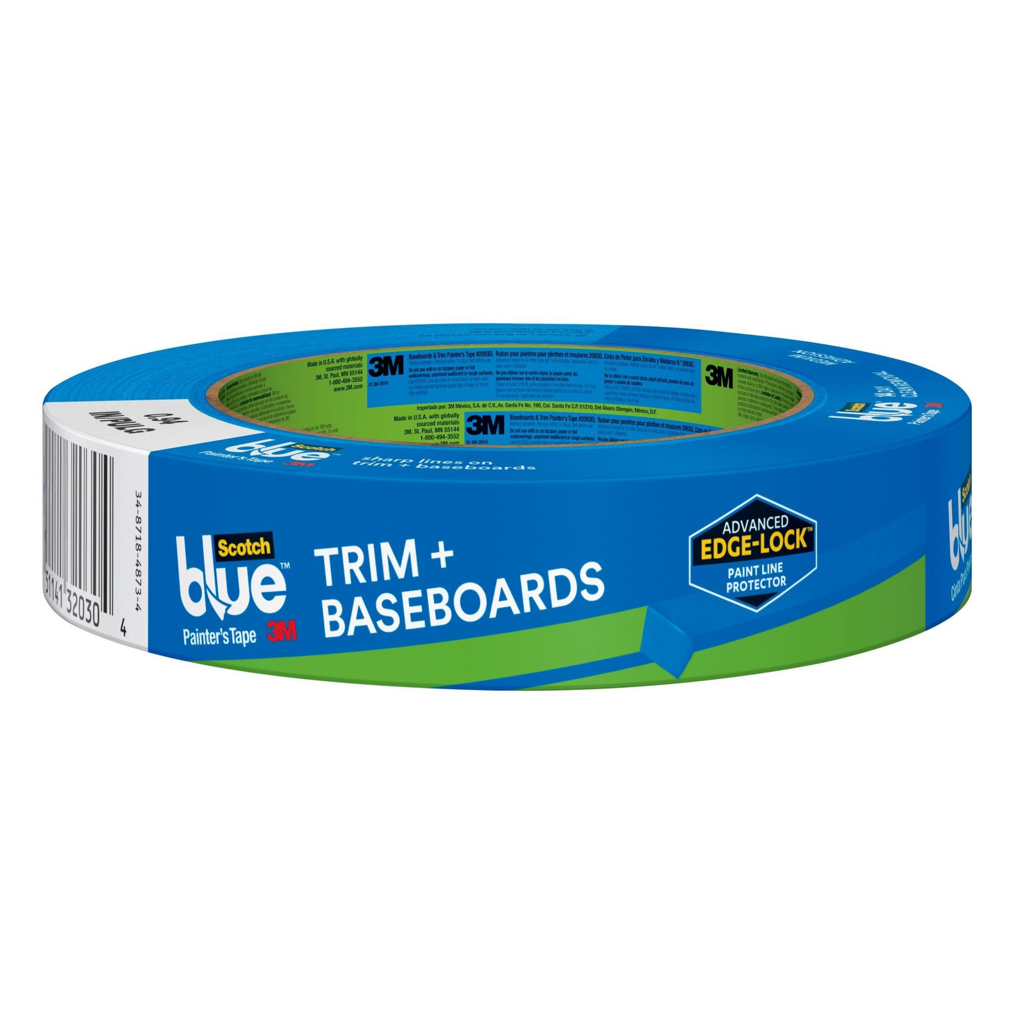 ScotchBlue Painter's Tape Trim and Baseboards with Edge-Lock, 1 Roll, 0.94' x 60 yds