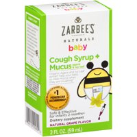 Zarbee's Naturals Baby Cough Syrup + Mucus with Agave & Ivy Leaf, Grape, 2 fl oz