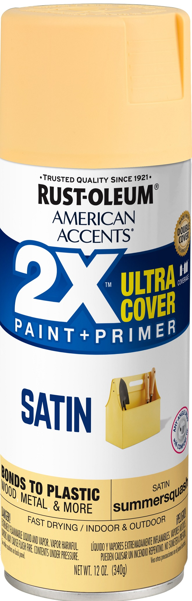 (3 Pack) Rust-Oleum American Accents Ultra Cover 2X Satin Summer Squash Spray Paint and Primer in 1, 12 oz