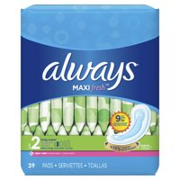 ALWAYS Maxi Size 2 Super Pads Without Wings Scented, 39 Count