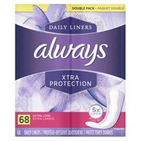 Always Xtra Protection Daily Liners, Extra Long 68 Count