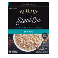 Better Oats Steel Cut Instant Oatmeal, Original, 11.6 Oz, 10 Ct