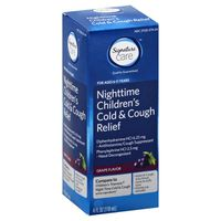 Signature Cold & Cough Relief, Children's, Nighttime, Grape Flavor