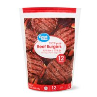 Great Value Beef Burgers, 80% Lean/20% Fat, 12 ct, 3 lb (Frozen)
