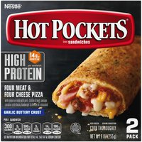 Hot Pockets HIGH PROTEIN Four Meat & Four Cheese Pizza Frozen Sandwiches