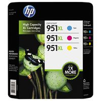 HP 951XL High Capacity Color Combo Ink Cartridges, 3 ct