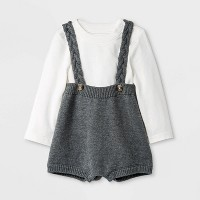 Baby Top & Bottom Set - Cat & Jack™ Cream/Gray