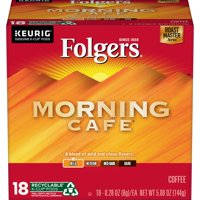 Folgers Morning Cafe Coffee, Mild Roast, K-Cup Pods for Keurig K-Cup Brewers, 18-Count