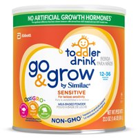 Go & Grow by Similac Sensitive Toddler Drink for Lactose Sensitivity, with 2'-FL HMO for Immune Support and 23 Key Nutrients to Help Balance Toddler Nutrition, Non-GMO Milk-Based Powder, 23.3-oz Can