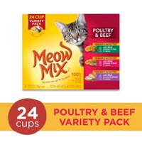 Meow Mix Tender Favorites Poultry & Beef Variety Pack Wet Cat Food, 24 Cups