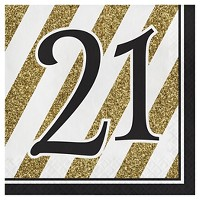 16ct Black & Gold 21st Birthday Napkins