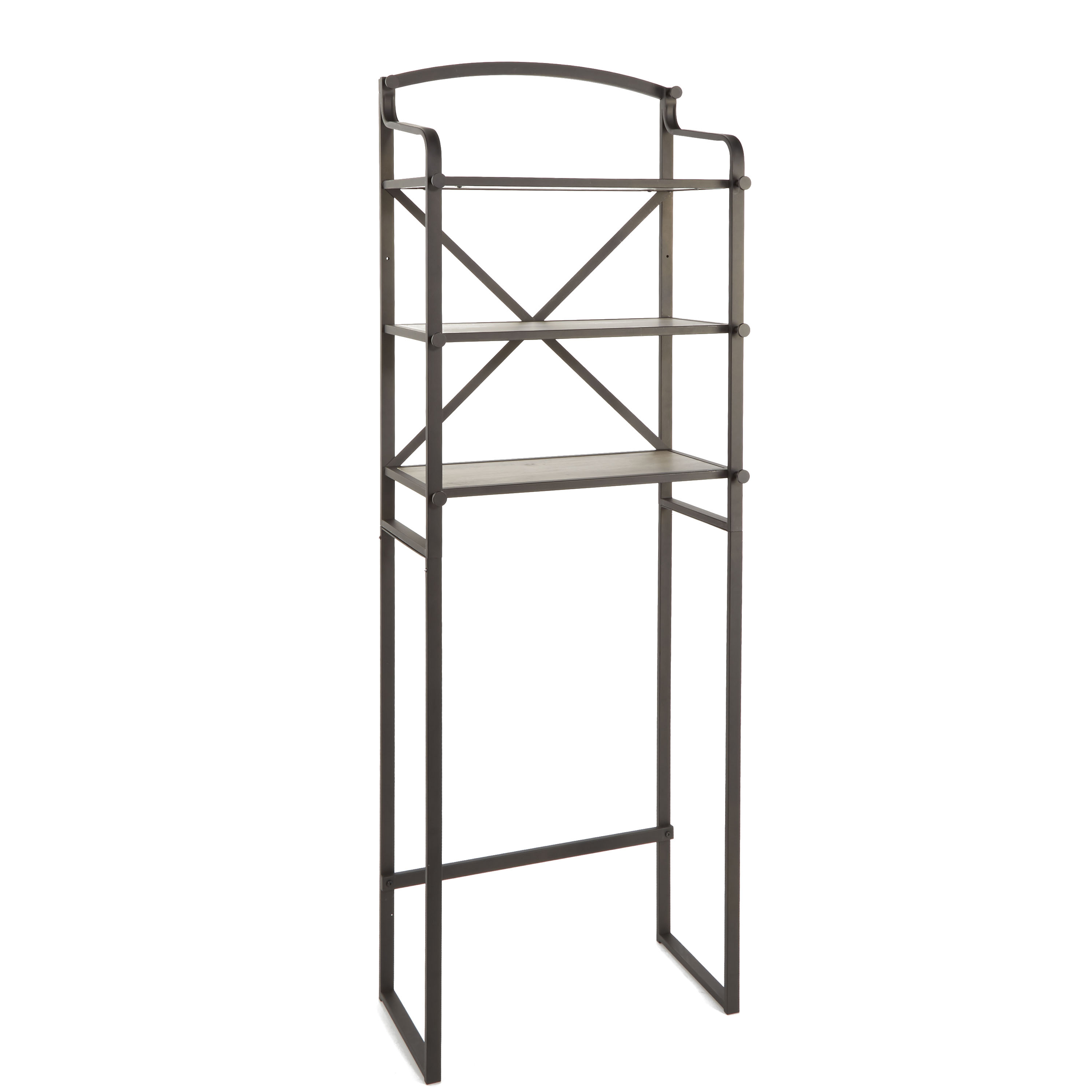 Better Homes & Gardens Rustic Farmhouse 3-Tier Bathroom Storage Over the Toilet Space Saver, Bronze & Rustic Gray