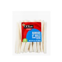 """Ol' Roy Rawhide 6"""" Rolls Chews for Dogs, Beefhide, 9.31 oz, 16 Count"""
