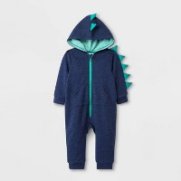 Baby Boys' Long Sleeve Hooded Dino Romper - Cat & Jack™ Blue