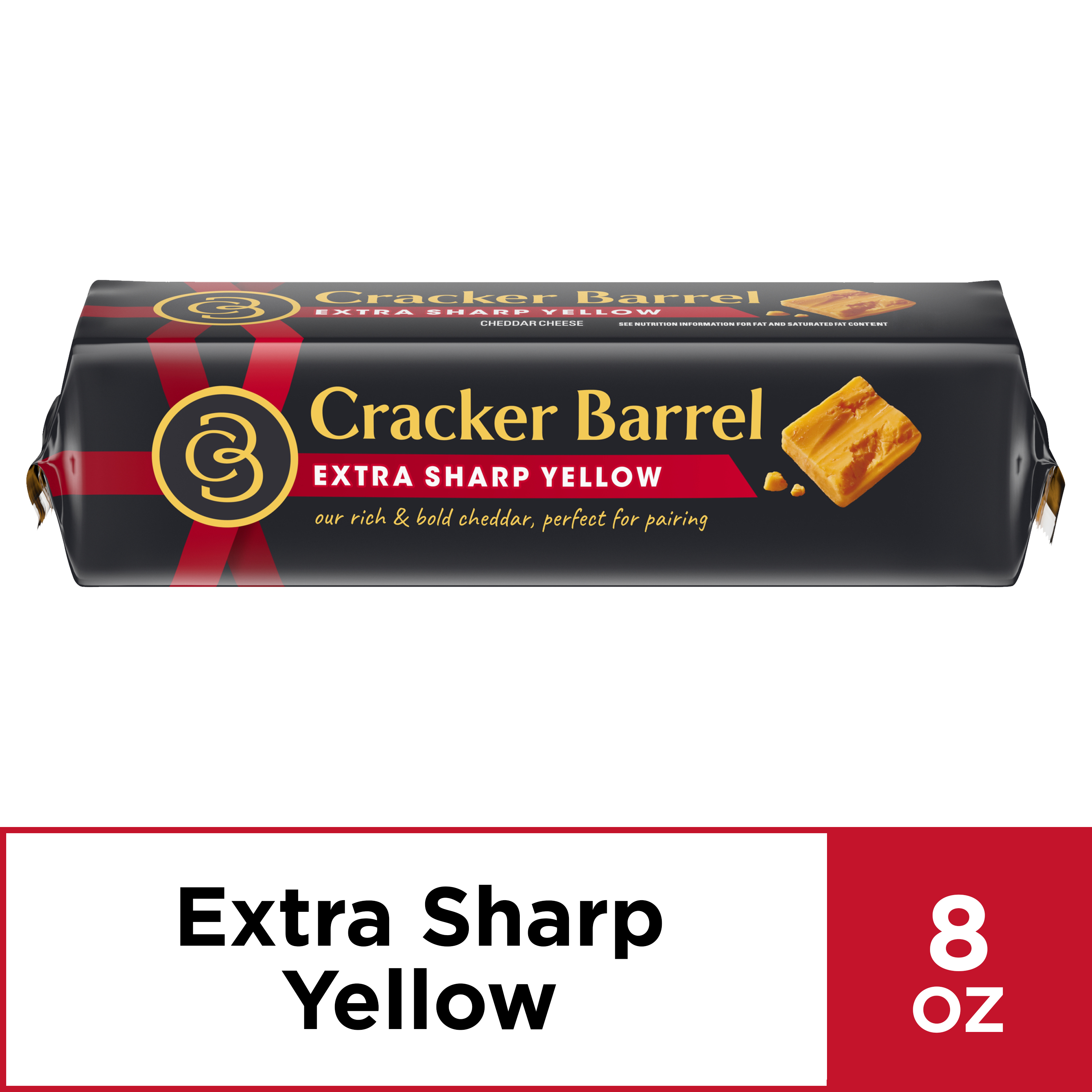 Cracker Barrel Cheese Chunk, Extra Sharp Cheddar Cheese, 8 oz Wrapper