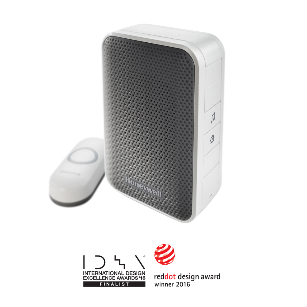Honeywell 3 Series Portable Wireless Doorbell & Push Button, White