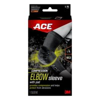 ACE Brand Compression Elbow Sleeve w/ Pad, Helps Protect from Abrasions, Breathable, L/XL