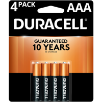 Duracell Coppertop Alkaline, AAA Batteries, 4 Pack
