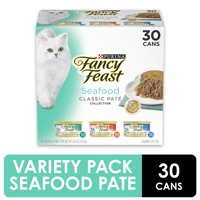 (30 Pack) Fancy Feast Grain Free Pate Wet Cat Food Variety Pack, Seafood Classic Pate Collection, 3 oz. Cans