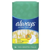 Always Ultra Thin Regular Pads with Wings, Unscented, Size 1, 36 Ct