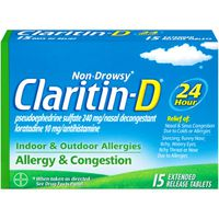 Claritin 24 Hour Non-Drowsy Indoor & Outdoor Allergies Allergy & Congestion Extended Release Tablets Nasal Decongestant/Antihistamine