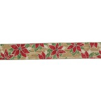 """Northlight Red and Green Poinsettia Christmas Wired Craft Ribbon 2.5"""" x 16 Yards"""