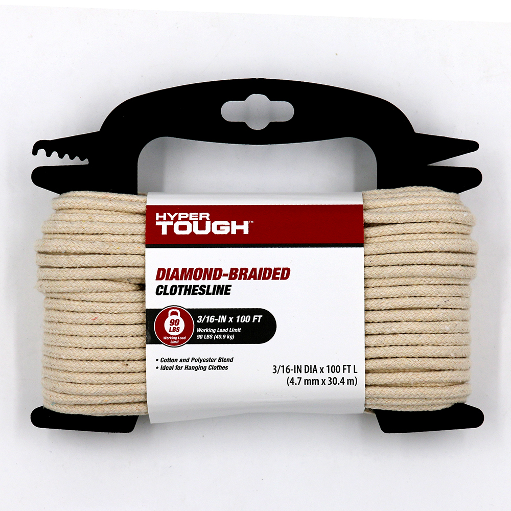 Hyper Tough Diamond Braided Cotton Clothes Line, Natural Color 3/16 inch x 100 feet