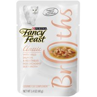 Fancy Feast Broth Wet Cat Food Complement, Broths With Wild Salmon & Vegetables, 1.4 oz. Pouch