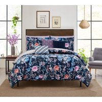 Mainstays Navy Floral 8-10 Piece Bed in a Bag Bedding Set w/BONUS Sheet Set + Pillows
